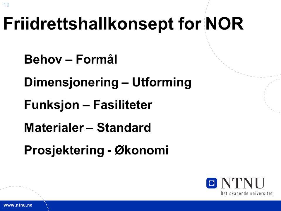 19 Friidrettshallkonsept for NOR Behov – Formål Dimensjonering – Utforming Funksjon – Fasiliteter Materialer – Standard Prosjektering - Økonomi