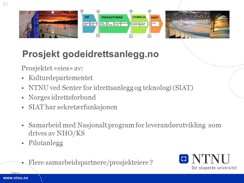 21 Side 21 Prosjektet «eies» av: •Kulturdepartementet •NTNU ved Senter for idrettsanlegg og teknologi (SIAT) •Norges idrettsforbund •SIAT har sekretær