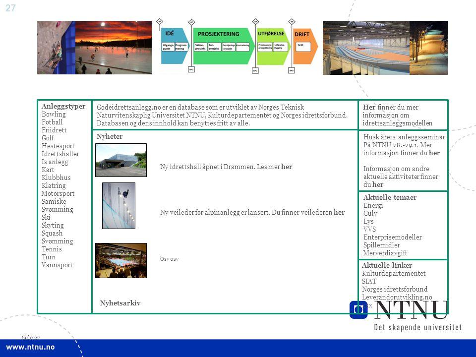27 Side 27 Anleggstyper Bowling Fotball Friidrett Golf Hestesport Idrettshaller Is anlegg Kart Klubbhus Klatring Motorsport Samiske Svømming Ski Skyti