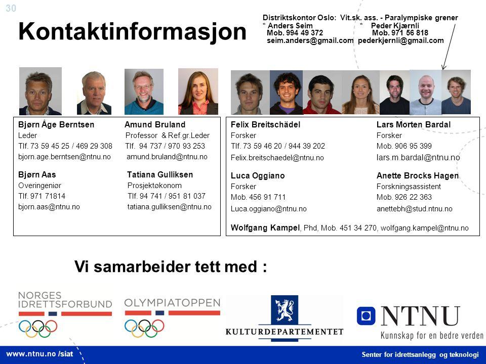 30 Kontaktinformasjon Bjørn Åge Berntsen Amund Bruland Leder Professor & Ref.gr.Leder Tlf. 73 59 45 25 / 469 29 308 Tlf. 94 737 / 970 93 253 bjorn.age