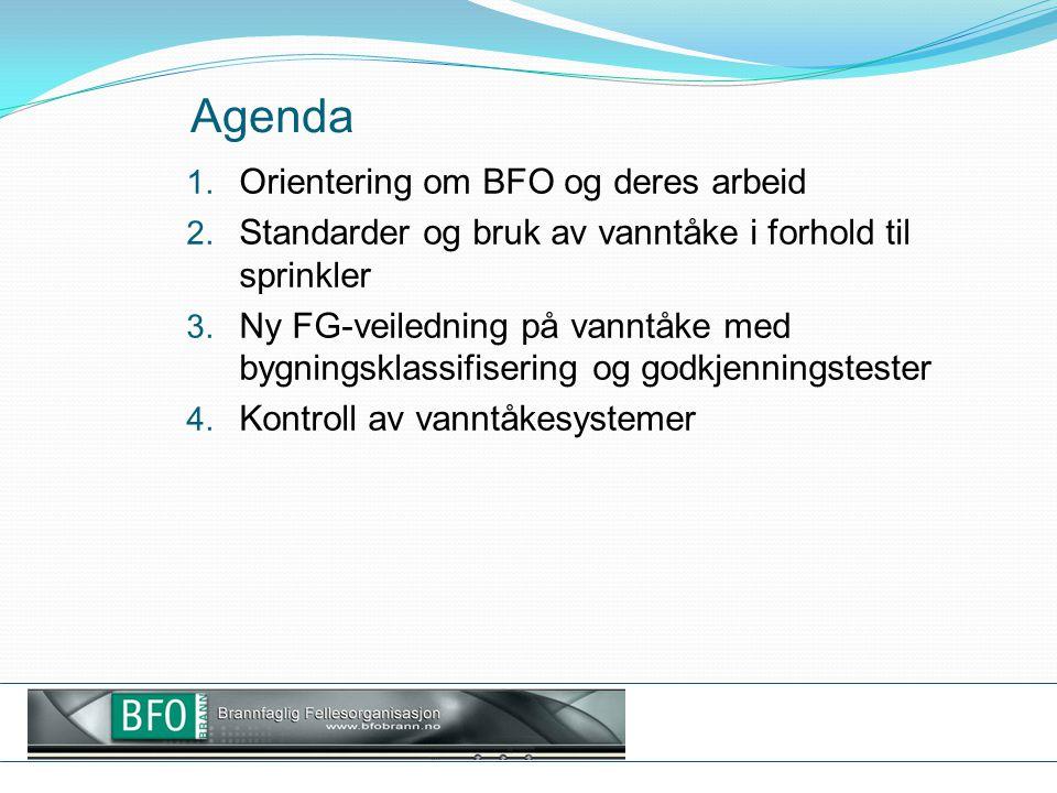 Agenda 1. Orientering om BFO og deres arbeid 2. Standarder og bruk av vanntåke i forhold til sprinkler 3. Ny FG-veiledning på vanntåke med bygningskla