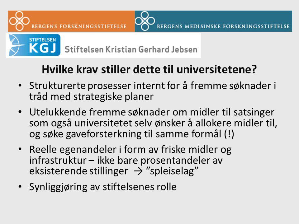 Norsk forskning og filantropi • Av relativt ny dato og ikke av stort omfang • Til dels usikker institusjonell respons- er gaver et problem.
