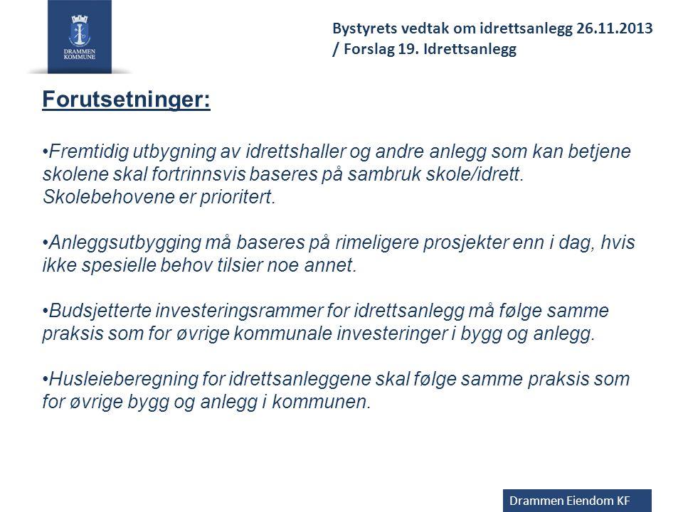 Drammen Eiendom KF Bystyret Bystyrekomitè for oppvekst og utdanning Styret i Drammen eiendom KF Styringsgruppe Utdanningsdirektør Daglig leder DEKF Prosjektgruppe -v irksomhetsleder -Prosjektansvarlig DEKF -Prosjektleder Medvirkning - idretten -FAU -Rådet for Funksjonshemmede -tillitsvalgte/verneombud -Kommunens idrettsadm.