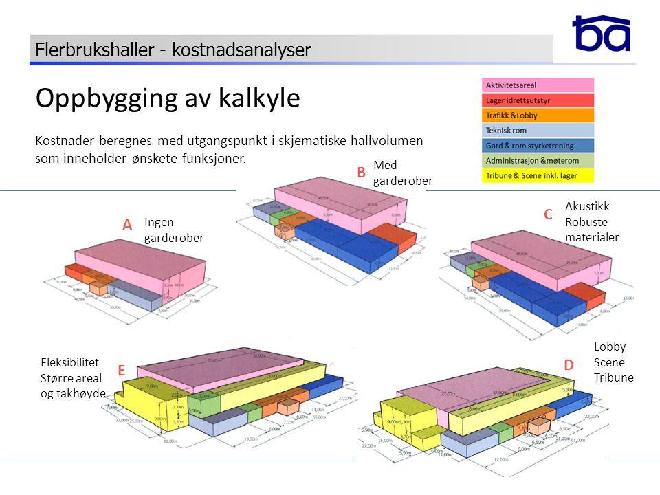 Oppbygging av kalkyle Kostnader beregnes med utgangspunkt i skjematiske hallvolumen som inneholder ønskete funksjoner. A B C D E Ingen garderober Med