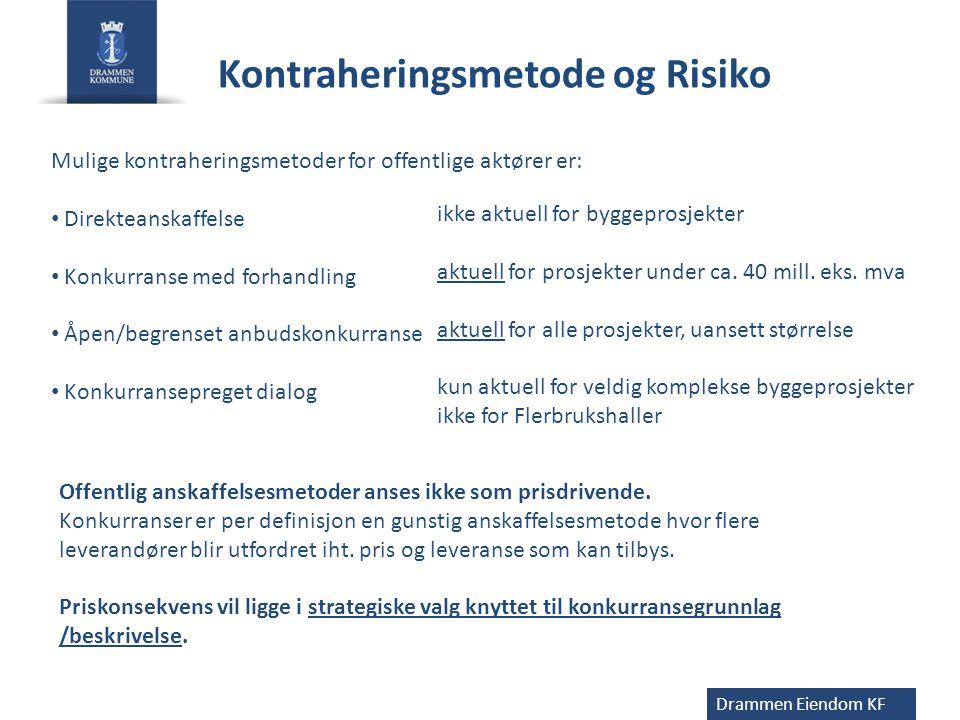 Kontraheringsmetode og Risiko Drammen Eiendom KF Mulige kontraheringsmetoder for offentlige aktører er: • Direkteanskaffelse • Konkurranse med forhand