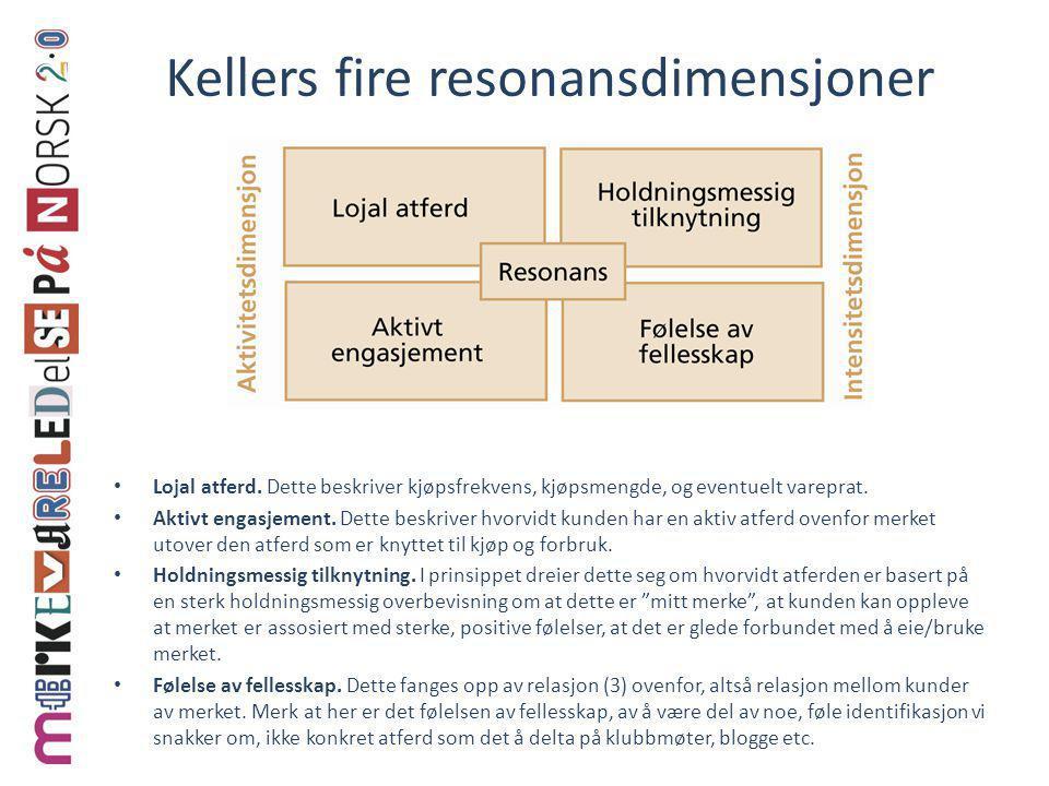 Kellers fire resonansdimensjoner • Lojal atferd. Dette beskriver kjøpsfrekvens, kjøpsmengde, og eventuelt vareprat. • Aktivt engasjement. Dette beskri
