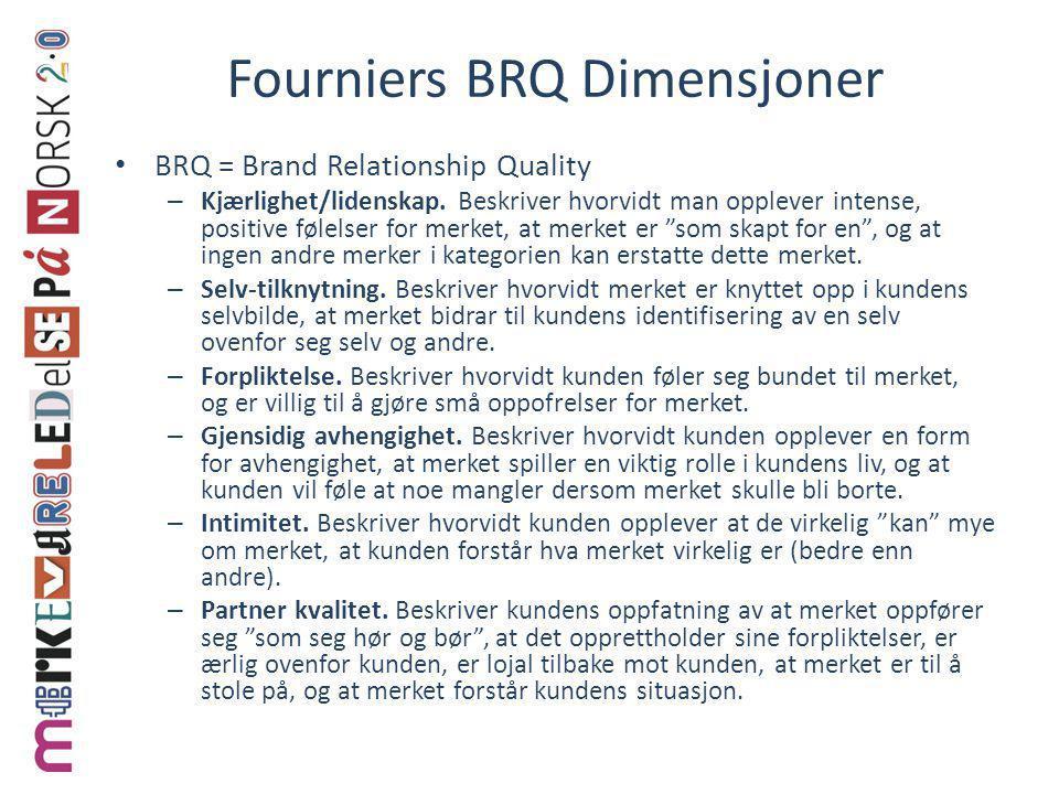 Fourniers BRQ Dimensjoner • BRQ = Brand Relationship Quality – Kjærlighet/lidenskap. Beskriver hvorvidt man opplever intense, positive følelser for me