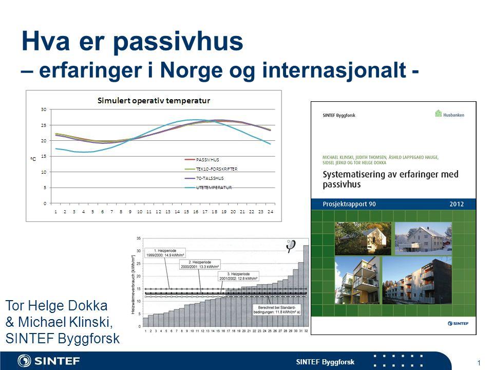 SINTEF Byggforsk 1 Hva er passivhus – erfaringer i Norge og internasjonalt - Tor Helge Dokka & Michael Klinski, SINTEF Byggforsk