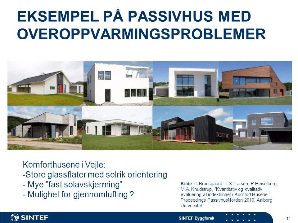 """SINTEF Byggforsk EKSEMPEL PÅ PASSIVHUS MED OVEROPPVARMINGSPROBLEMER 12 Komforthusene i Vejle: -Store glassflater med solrik orientering - Mye """"fast so"""