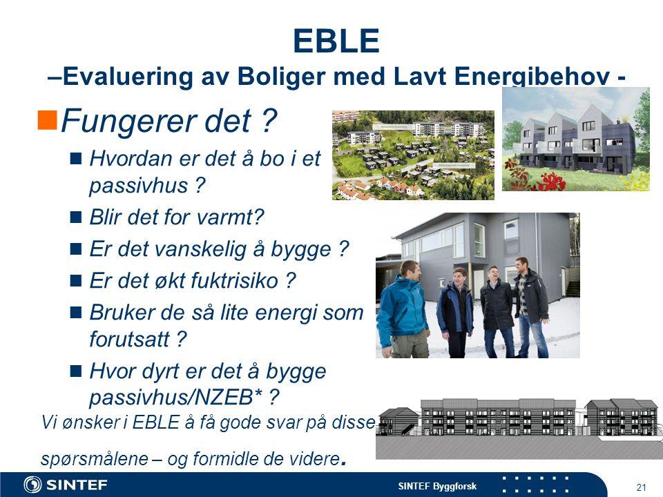 SINTEF Byggforsk EBLE –Evaluering av Boliger med Lavt Energibehov -  Fungerer det ?  Hvordan er det å bo i et passivhus ?  Blir det for varmt?  Er
