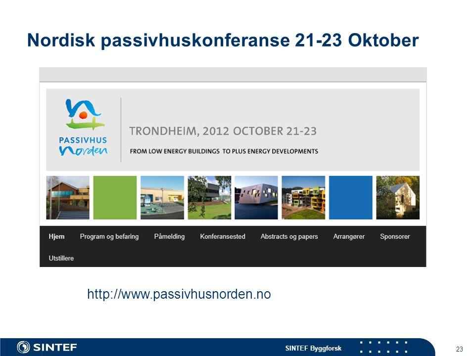 SINTEF Byggforsk Nordisk passivhuskonferanse 21-23 Oktober 23 http://www.passivhusnorden.no