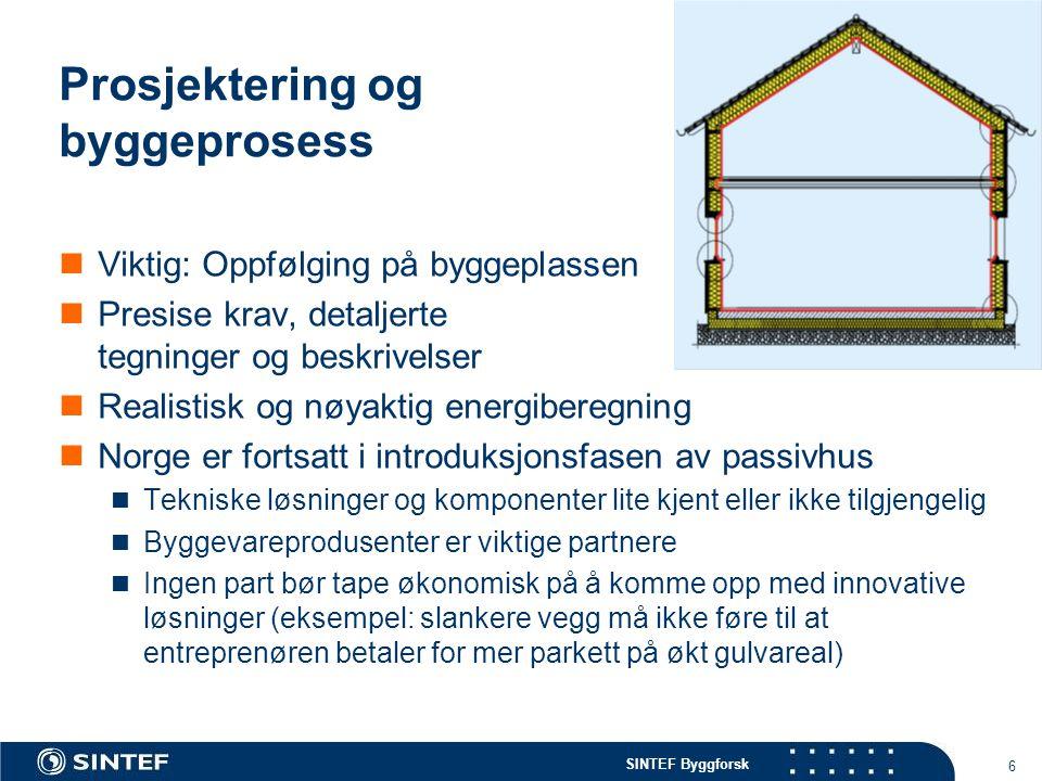 SINTEF Byggforsk Prosjektering og byggeprosess  Viktig: Oppfølging på byggeplassen  Presise krav, detaljerte tegninger og beskrivelser  Realistisk