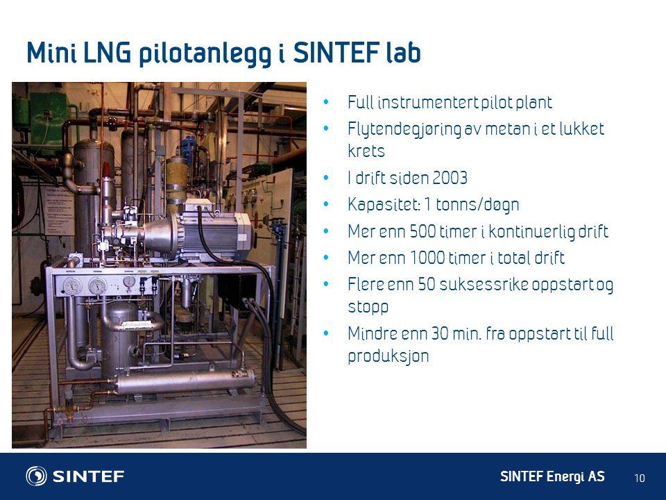 SINTEF Energi AS Mini LNG pilotanlegg i SINTEF lab 10 • Full instrumentert pilot plant • Flytendegjøring av metan i et lukket krets • I drift siden 20