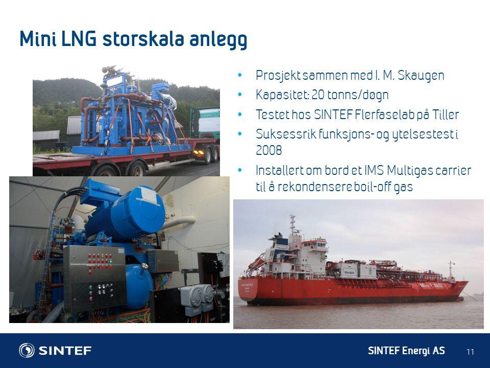 SINTEF Energi AS Mini LNG storskala anlegg 11 • Prosjekt sammen med I. M. Skaugen • Kapasitet: 20 tonns/døgn • Testet hos SINTEF Flerfaselab på Tiller