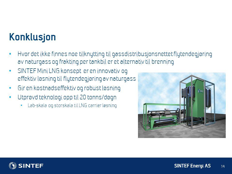 SINTEF Energi AS Konklusjon 14 • Hvor det ikke finnes noe tilknytting til gassdistribusjonsnettet flytendegjøring av naturgass og frakting per tankbil
