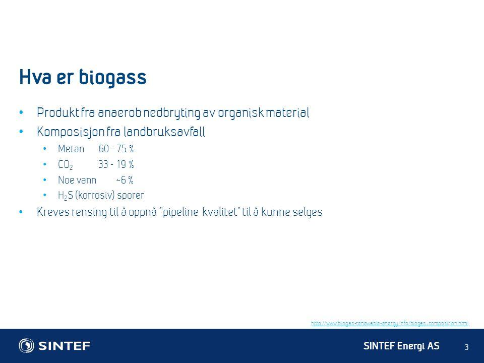 SINTEF Energi AS Hva er biogass 3 • Produkt fra anaerob nedbryting av organisk material • Komposisjon fra landbruksavfall • Metan 60 - 75 % • CO 2 33