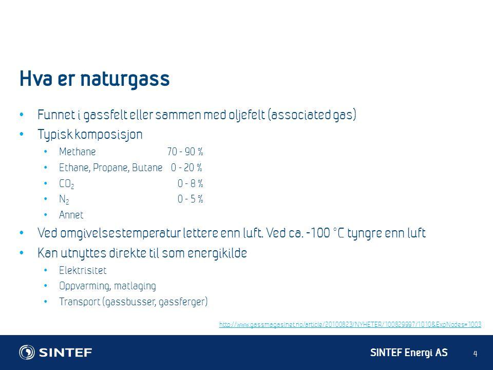 SINTEF Energi AS Hva er naturgass 4 • Funnet i gassfelt eller sammen med oljefelt (associated gas) • Typisk komposisjon • Methane 70 - 90 % • Ethane,