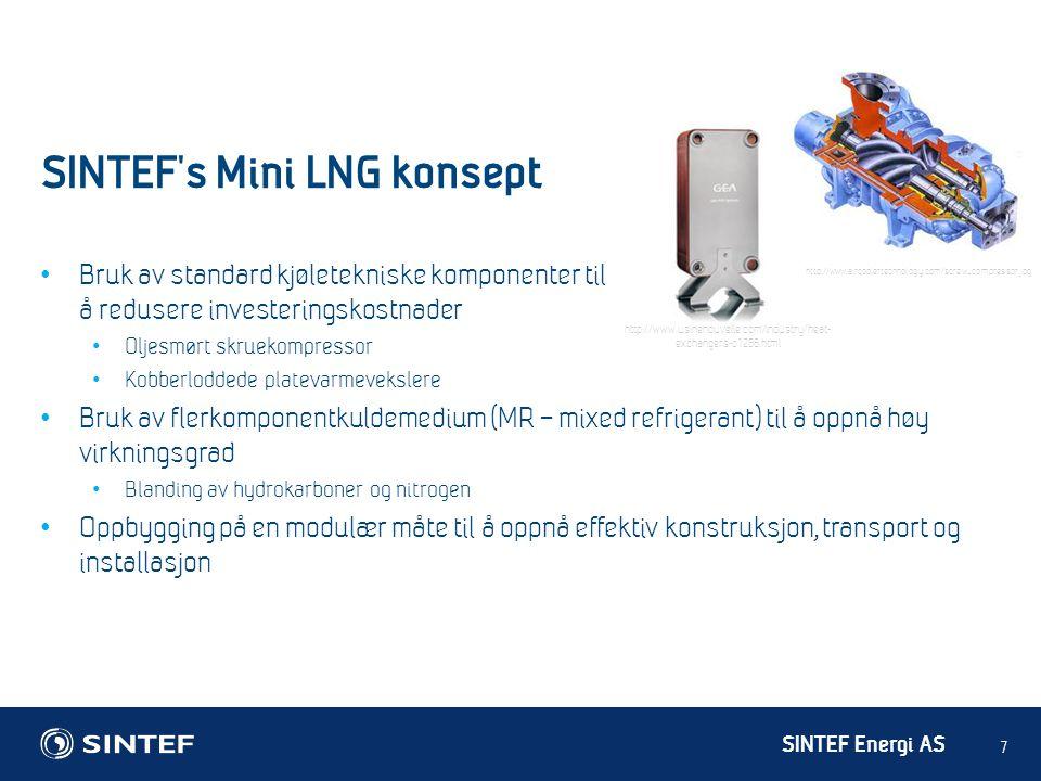 SINTEF Energi AS SINTEF's Mini LNG konsept 7 • Bruk av standard kjøletekniske komponenter til å redusere investeringskostnader • Oljesmørt skruekompre