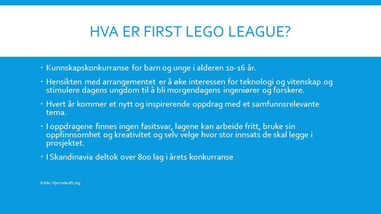 HVA ER FIRST LEGO LEAGUE.  Kunnskapskonkurranse for barn og unge i alderen 10-16 år.