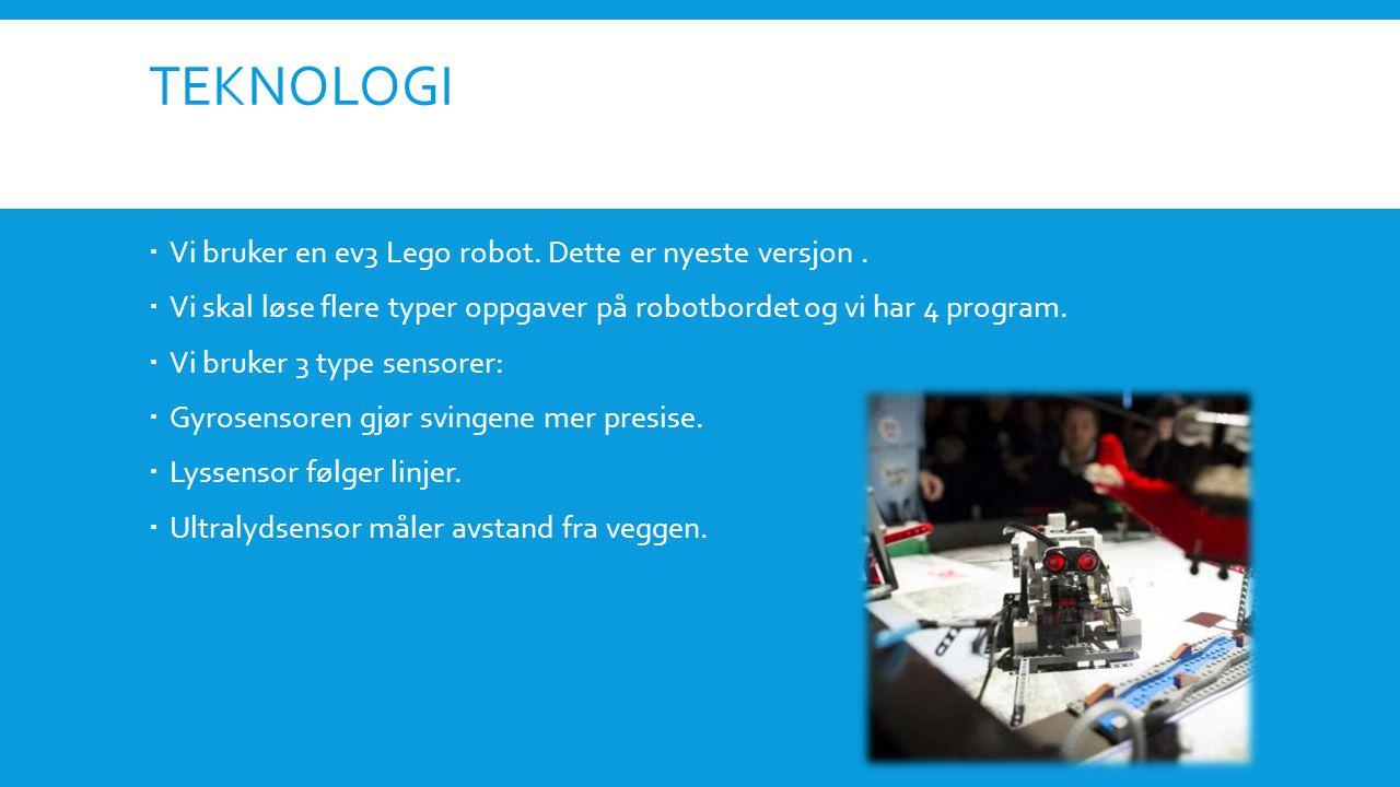 TEKNOLOGI  Vi bruker en ev3 Lego robot. Dette er nyeste versjon.
