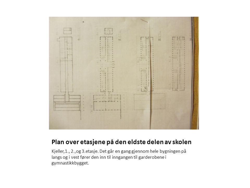 Plan over etasjene på den eldste delen av skolen Kjeller,1., 2.,og 3.etasje. Det går en gang gjennom hele bygningen på langs og i vest fører den inn t