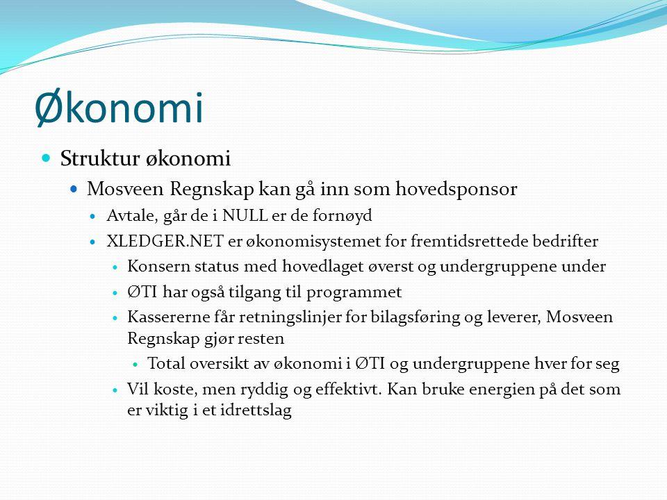 Økonomi  Struktur økonomi  Mosveen Regnskap kan gå inn som hovedsponsor  Avtale, går de i NULL er de fornøyd  XLEDGER.NET er økonomisystemet for fremtidsrettede bedrifter  Konsern status med hovedlaget øverst og undergruppene under  ØTI har også tilgang til programmet  Kassererne får retningslinjer for bilagsføring og leverer, Mosveen Regnskap gjør resten  Total oversikt av økonomi i ØTI og undergruppene hver for seg  Vil koste, men ryddig og effektivt.