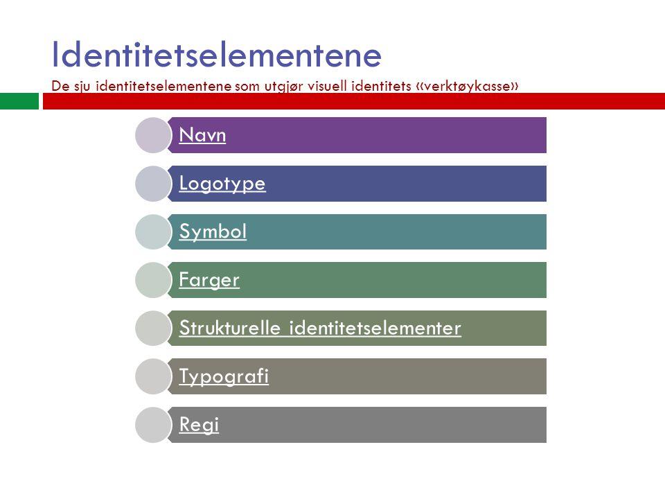 Identitetselementene Navn Logotype Symbol Farger Strukturelle identitetselementer Typografi Regi De sju identitetselementene som utgjør visuell identitets «verktøykasse»