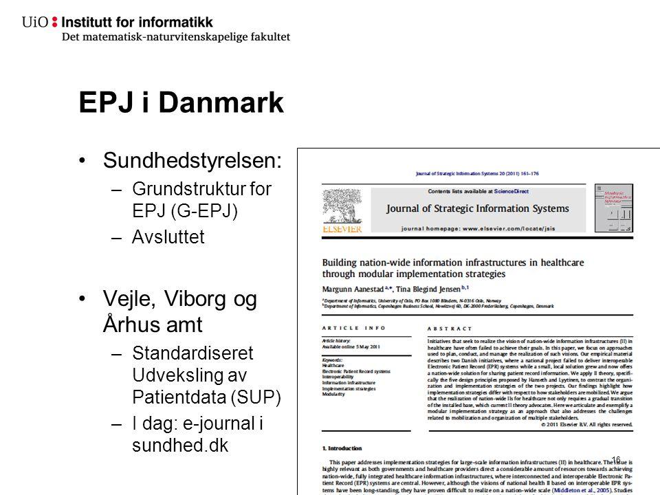 EPJ i Danmark •Sundhedstyrelsen: –Grundstruktur for EPJ (G-EPJ) –Avsluttet •Vejle, Viborg og Århus amt –Standardiseret Udveksling av Patientdata (SUP)