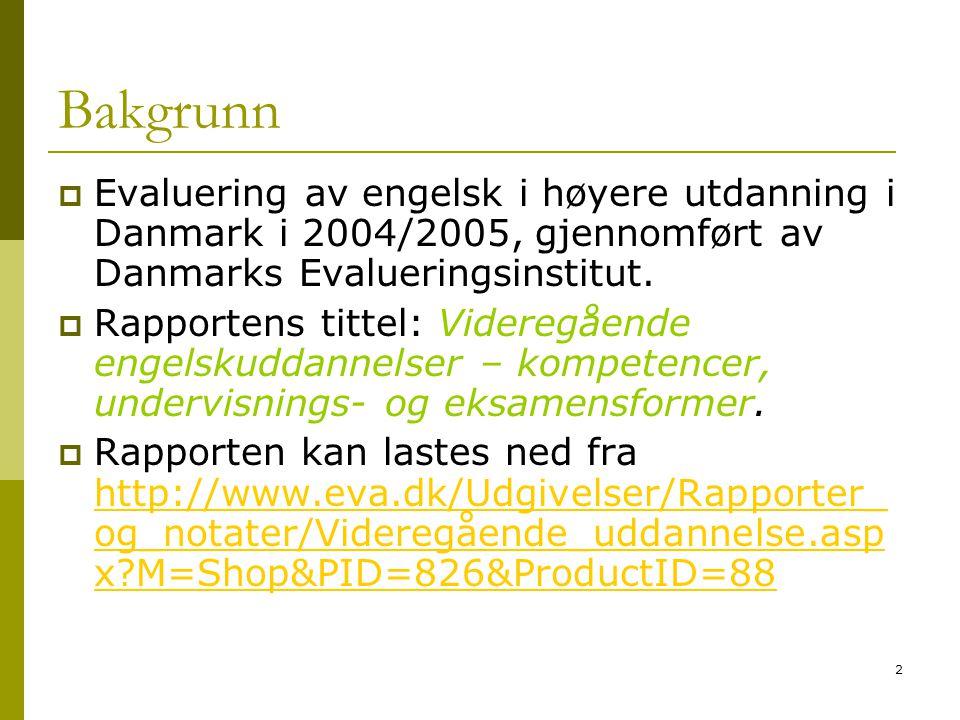 2 Bakgrunn  Evaluering av engelsk i høyere utdanning i Danmark i 2004/2005, gjennomført av Danmarks Evalueringsinstitut.  Rapportens tittel: Videreg