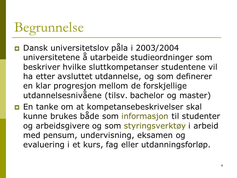 4 Begrunnelse  Dansk universitetslov påla i 2003/2004 universitetene å utarbeide studieordninger som beskriver hvilke sluttkompetanser studentene vil