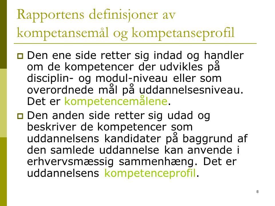 8 Rapportens definisjoner av kompetansemål og kompetanseprofil  Den ene side retter sig indad og handler om de kompetencer der udvikles på disciplin-