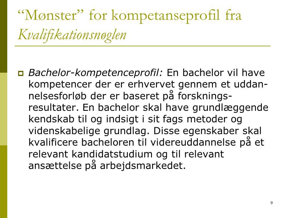 """9 """"Mønster"""" for kompetanseprofil fra Kvalifikationsnøglen  Bachelor-kompetenceprofil: En bachelor vil have kompetencer der er erhvervet gennem et udd"""