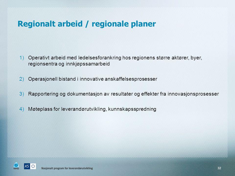 Regionalt arbeid / regionale planer 1)Operativt arbeid med ledelsesforankring hos regionens større aktører, byer, regionsentra og innkjøpssamarbeid 2)