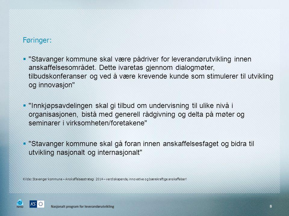 Føringer:  Stavanger kommune skal være pådriver for leverandørutvikling innen anskaffelsesområdet.