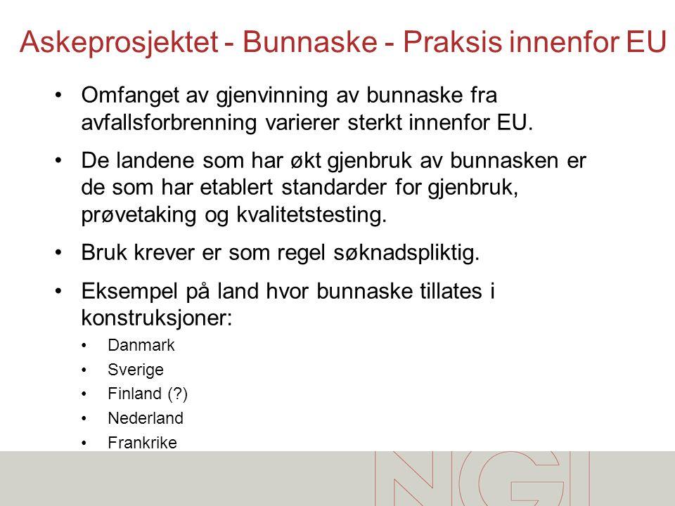 Askeprosjektet - Bunnaske - Praksis innenfor EU •Omfanget av gjenvinning av bunnaske fra avfallsforbrenning varierer sterkt innenfor EU. •De landene s