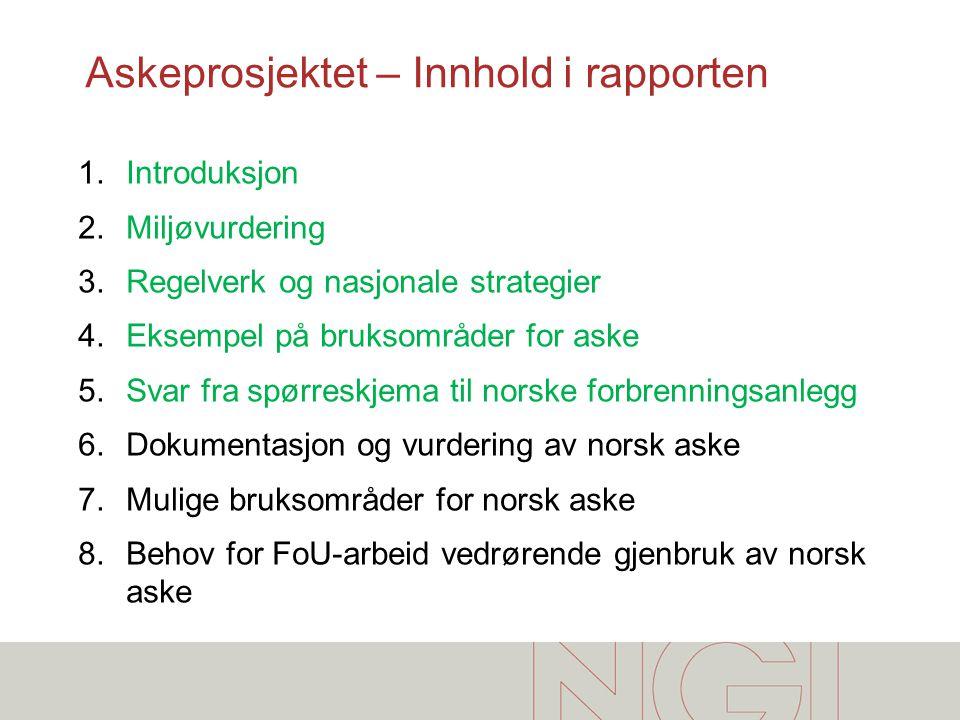 Askeprosjektet – Innhold i rapporten 1.Introduksjon 2.Miljøvurdering 3.Regelverk og nasjonale strategier 4.Eksempel på bruksområder for aske 5.Svar fr