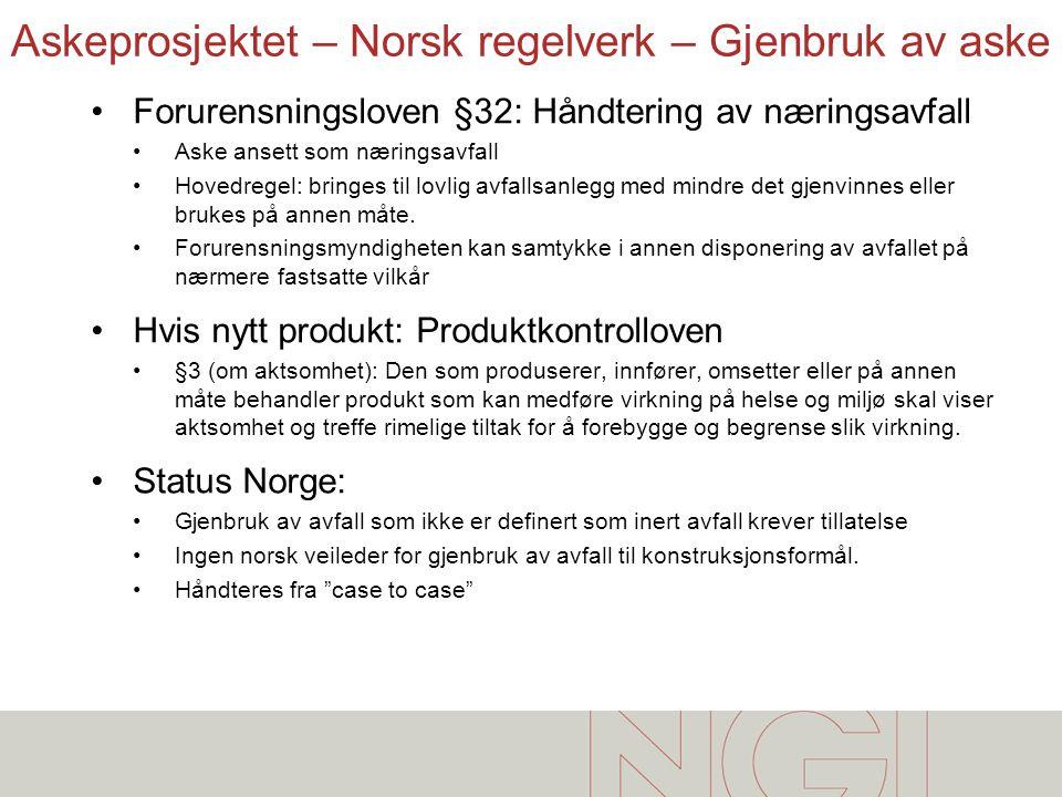 Askeprosjektet – Norsk regelverk – Gjenbruk av aske •Forurensningsloven §32: Håndtering av næringsavfall •Aske ansett som næringsavfall •Hovedregel: b