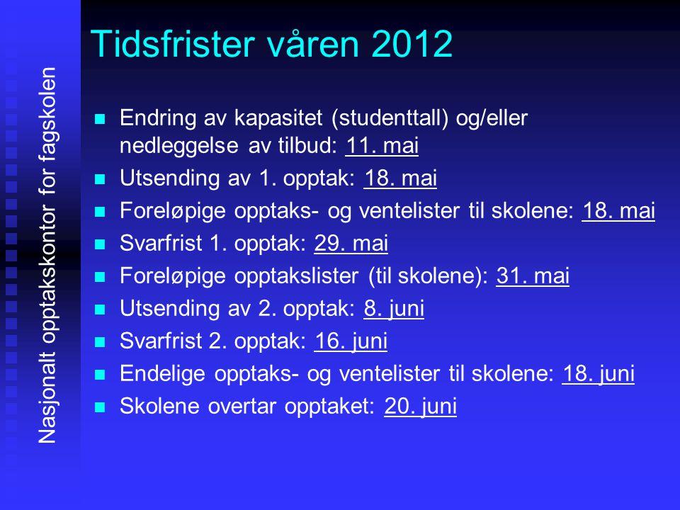 Tidsfrister våren 2012   Endring av kapasitet (studenttall) og/eller nedleggelse av tilbud: 11. mai   Utsending av 1. opptak: 18. mai   Foreløpi