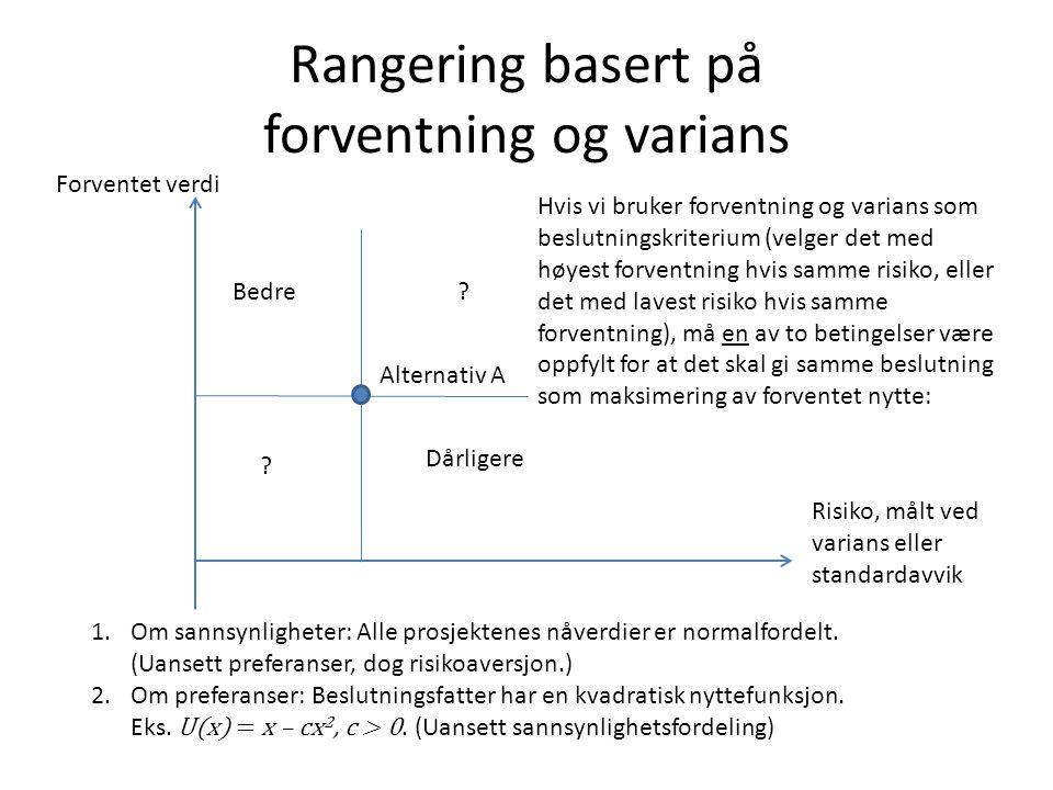 Rangering basert på forventning og varians Forventet verdi Risiko, målt ved varians eller standardavvik Alternativ A Bedre Dårligere .