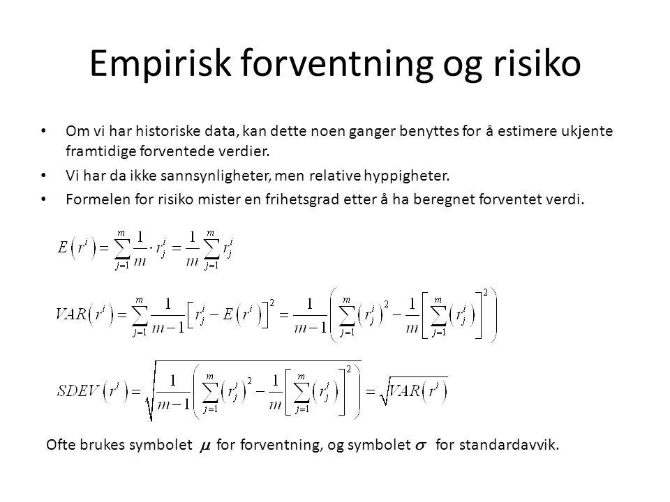 Empirisk forventning og risiko • Om vi har historiske data, kan dette noen ganger benyttes for å estimere ukjente framtidige forventede verdier.