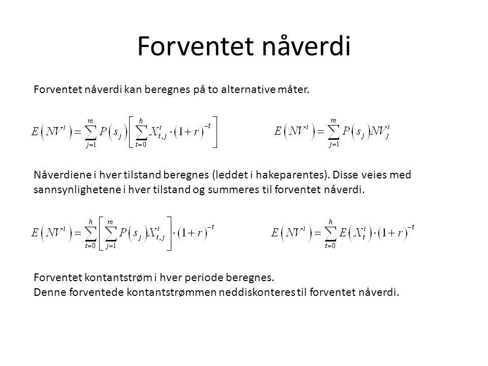 Forventet nåverdi Forventet nåverdi kan beregnes på to alternative måter.
