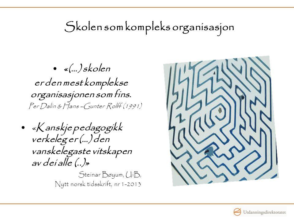 Skolen som kompleks organisasjon •«(…) skolen er den mest komplekse organisasjonen som fins. Per Dalin & Hans –Gunter Rolff (1991) •«Kanskje pedagogik