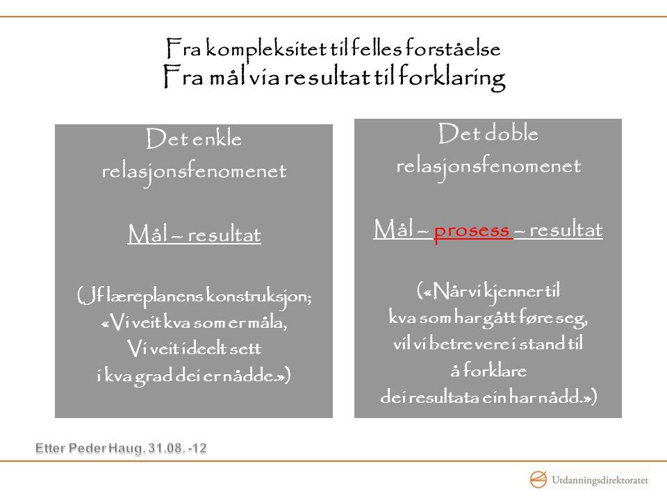 Fra kompleksitet til felles forståelse Fra mål via resultat til forklaring Det enkle relasjonsfenomenet Mål – resultat (Jf læreplanens konstruksjon; «
