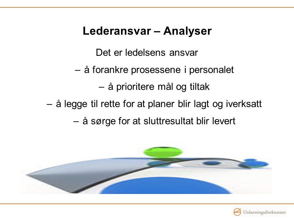 Lederansvar – Analyser Det er ledelsens ansvar –å forankre prosessene i personalet –å prioritere mål og tiltak –å legge til rette for at planer blir l