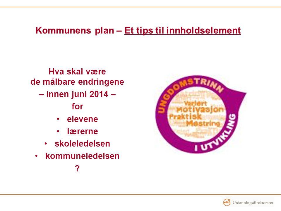 Kommunens plan – Et tips til innholdselement Hva skal være de målbare endringene – innen juni 2014 – for •elevene •lærerne •skoleledelsen •kommunelede