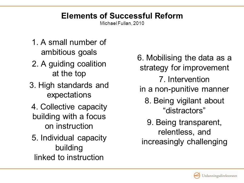 Elements of Successful Reform Michael Fullan, 2010 1.