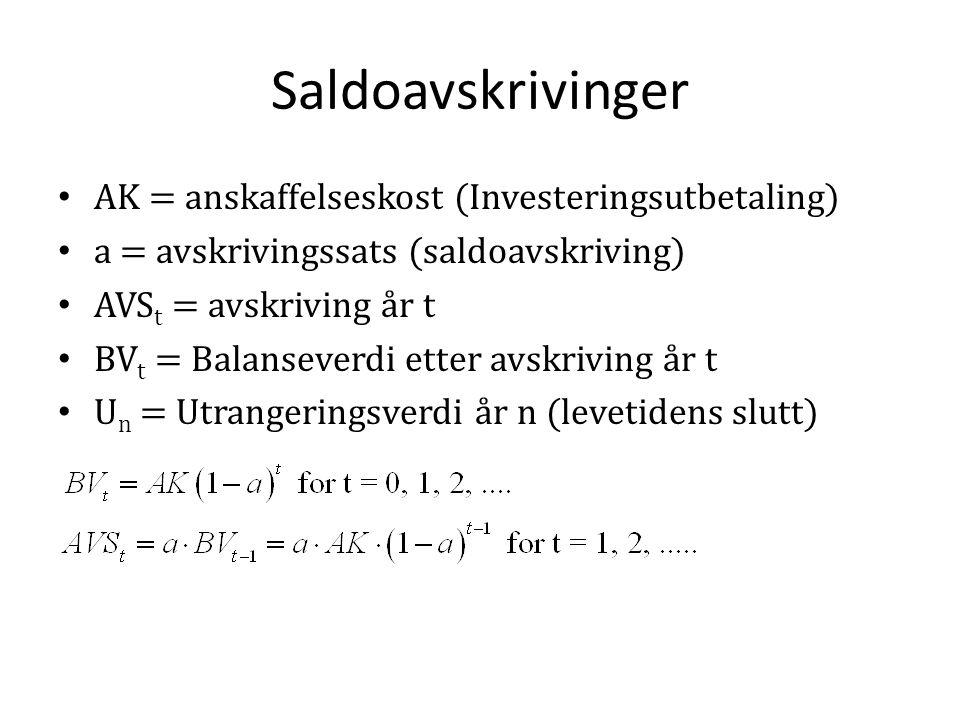 Saldoavskrivinger • AK = anskaffelseskost (Investeringsutbetaling) • a = avskrivingssats (saldoavskriving) • AVS t = avskriving år t • BV t = Balansev