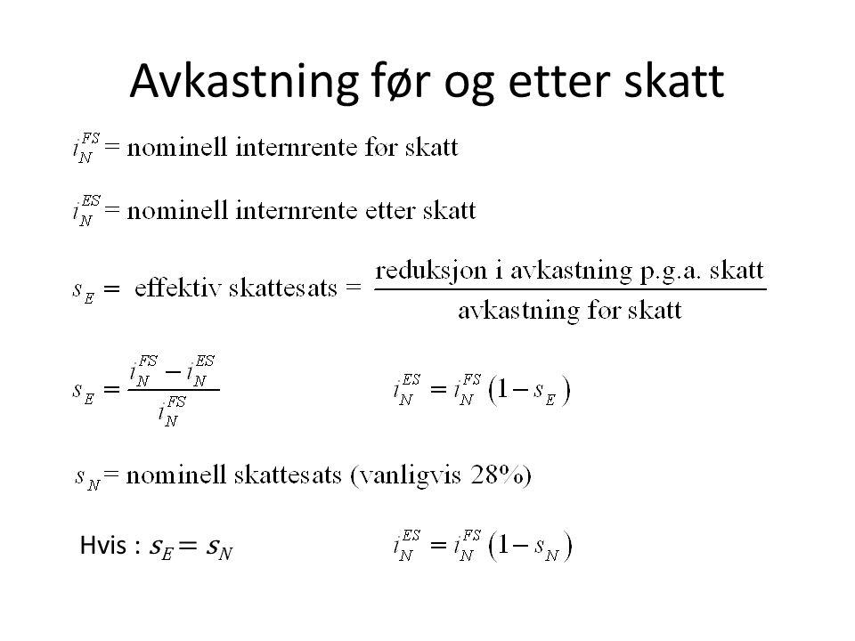 Avkastning før og etter skatt Hvis : s E = s N