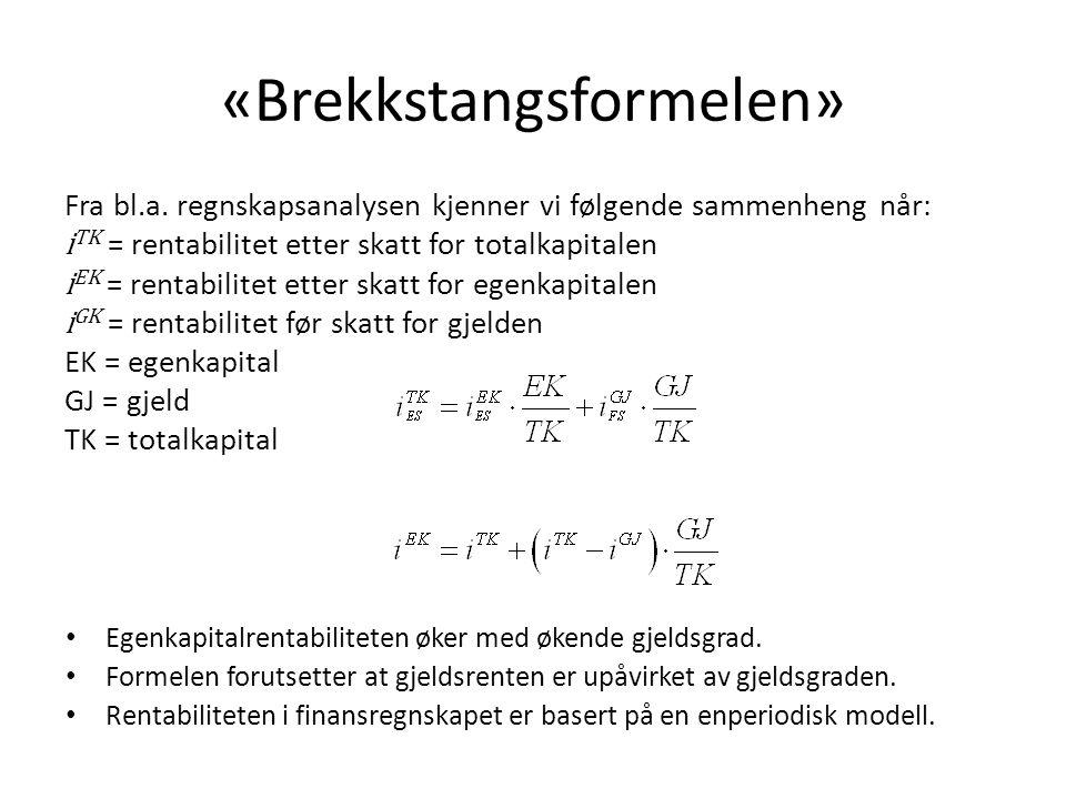 «Brekkstangsformelen» Fra bl.a. regnskapsanalysen kjenner vi følgende sammenheng når: i TK = rentabilitet etter skatt for totalkapitalen i EK = rentab