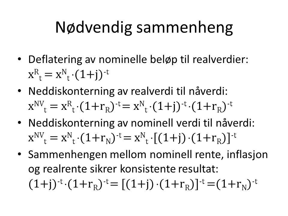 Nødvendig sammenheng • Deflatering av nominelle beløp til realverdier: x R t = x N t  (1+j) -t • Neddiskonterning av realverdi til nåverdi: x NV t =